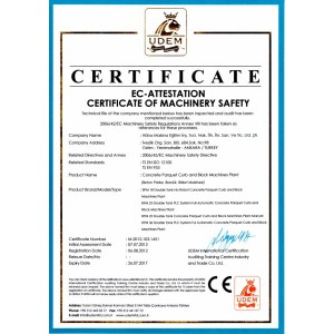 Certificate of Machinery Safety